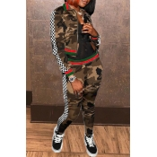 Lovely Trendy Camouflage Print Army Green Two-piec