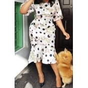 Lovely Trendy O Neck Print White Knee Length Dress