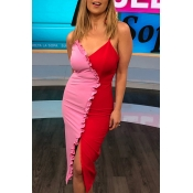 Lovely Sexy V Neck Patchwork Red Mid Calf Dress
