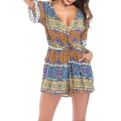 Lovely Casual Print Green Romper