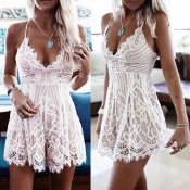 Lovely Sexy Lace White Romper