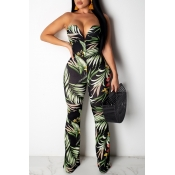 Lovely Casual Print Blackish Green Jumpsuit