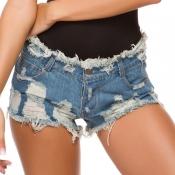Lovely Casual Broken Holes Baby Blue Shorts