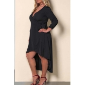 Lovely Casual V Neck Black Ankle Length Plus Size