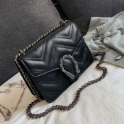 Lovely Trendy Chain Strap Black Crossbody Bag