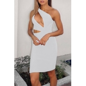 Lovely Sexy One Shoulder Hollow-out White Mini Dre