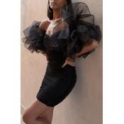 Lovely Trendy  Flounce Designt Black Mini Dress