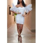 Lovely Trendy  Flounce Designt White Mini Dress