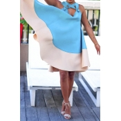 Lovely Sexy Hollow-out Baby Blue Knee Length Dress