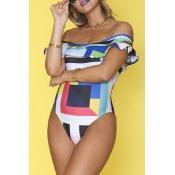 Lovely Print Multicolor Plus Size One-piece Swimsu