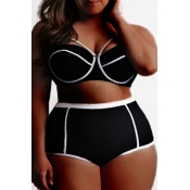 Lovely Patchwork Black Plus Size Two-piece Swimsui