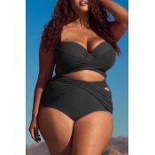 Lovely Hollow-out Black Plus Size Two-piece Swimsu