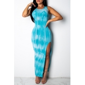 Lovely Casual Print Baby Blue Ankle Length Dress