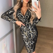 Lovely Trendy Print Black Knee Length Dress