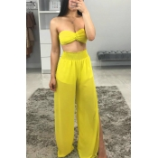 Lovely Leisure Loose Yellow Two-piece Pants Set