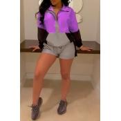 Lovely Trendy Zipper Design Purple Two-piece Short
