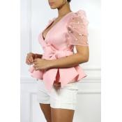 Lovely Trendy V Neck Lace-up Pink Blouse