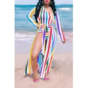 Lovely Striped Print Multicolor One-piece Swimsuit