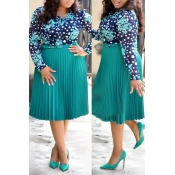 Lovely Casual Print Green Knee Length Plus Size Dr