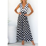 Lovely Trendy Dot Print Black And White One-piece