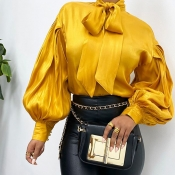 Lovely Chic Knot Design Yellow Blouse