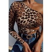 Lovely Stylish One Shoulder Leopard Print Blouse
