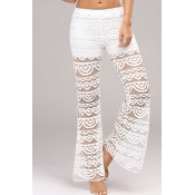 Lovely Chic Patchwork See-through White Pants