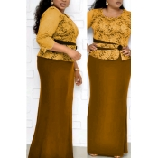 Lovely Casual Patchwork Yellow Maxi Trumpet Mermai