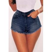 Lovely Casual Tassel Design Deep Blue Shorts