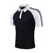 Lovely Chic Patchwork Black Polo Shirt