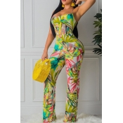 Lovely Stylish Print Backless Green One-piece Jump