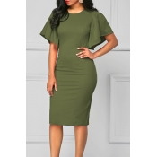 Lovely Casual O Neck Skinny Green Knee Length Dres