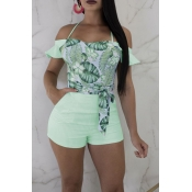 Lovely Chic Flounce Design Print Green One-piece R