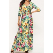 Lovely Chic Floral Print Yellow Ankle Length Dress