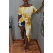 Lovely Chic Irregular Print Yellow T-shirt