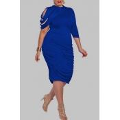 Lovely Trendy Ruffle Design Blue Knee Length Plus Size Dress