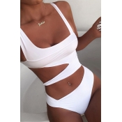 Lovely Hollow-out White One-piece Swimsuit