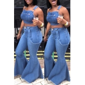 Lovely Casual Backless Baby Blue Two-piece Pants S