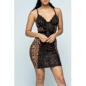 Lovely Chic Sleeveless Leopard Print Mini Dress