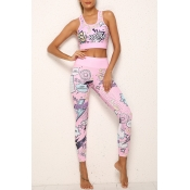 Lovely Casual U Neck Print Pink Two-piece Pants Se