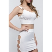 Lovely Sexy Hollow-out White Two-piece Skirt Set