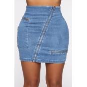 Lovely Chic Zipper Design Blue Skirt