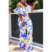 Lovely Chic Flounce Blue One-piece Jumpsuit