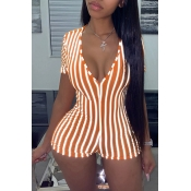 Lovely Chic Striped Skinny Orange One-piece Romper