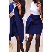 Lovely Work Patchwork Blue Two-piece Skirt Set
