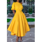 Lovely Chic Fold Design Yellow Ankle Length Dress