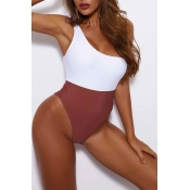 Lovely Patchwork Cameo Brown One-piece Swimsuit