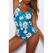 Lovely Hollow-out Floral Print Blue One-piece Swim