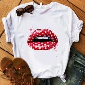 Lovely Casual Lip Milk White T-shirt