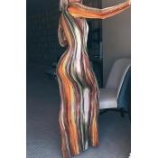 Lovely Leisure Striped Print Croci Maxi Dress